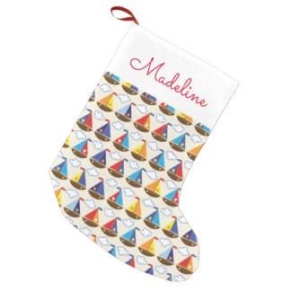 Cute Sailboat Pattern | Add Your Name Small Christmas Stocking