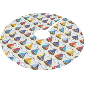 Cute Sailboat Pattern Brushed Polyester Tree Skirt