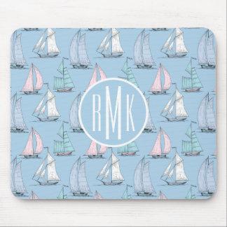 Cute Sailboat Pattern   Monogram Mouse Pad