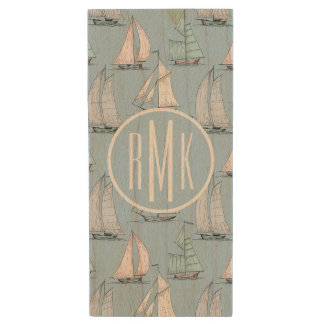 Cute Sailboat Pattern | Monogram Wood USB 2.0 Flash Drive