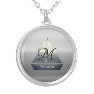 Cute Sailor Boat Add Name Monogram Necklace