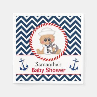 Cute Sailor Boy Nautical Baby Shower Disposable Napkins
