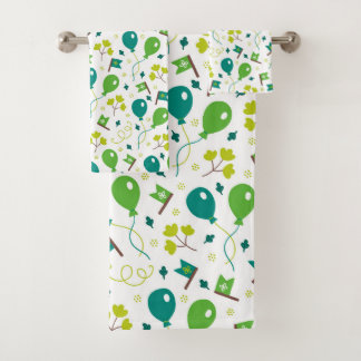 Cute Saint Patrick's Day Balloons and Flags Bath Towel Set