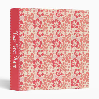 Cute Salmon and Coral Pink Floral Pattern 3 Ring Binder