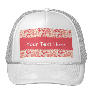 Cute Salmon and Coral Pink Floral Pattern Trucker Hats
