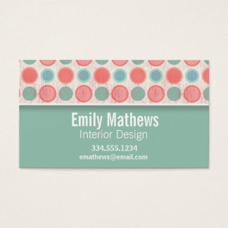 Cute Salmon, Coral Pink, & Seafoam Polka Dots Business Card