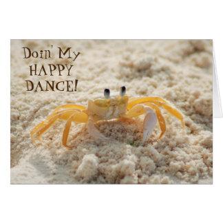 Cute Sand Crab Happy Dance Card