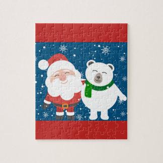 Cute Santa And Polar Bear Jigsaw Puzzle