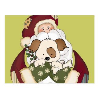 Cute Santa and Puppy Postcard
