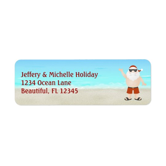 Cute Santa at the Beach Christmas Holiday Address