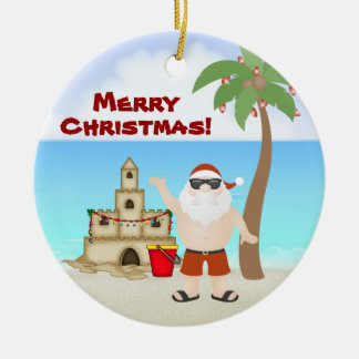 Cute Santa at the Beach Merry Christmas Holiday Round Ceramic Ornament
