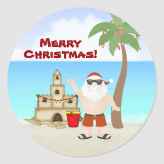 Cute Santa at the Beach Merry Christmas Holiday Round Sticker