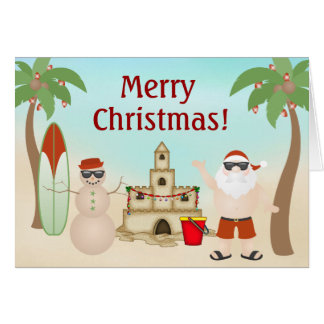Cute Santa at the Beach Paradise Merry Christmas Card