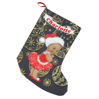 Cute Santa Baby Girl Ethnic Name Gold Ornaments Small Christmas Stocking
