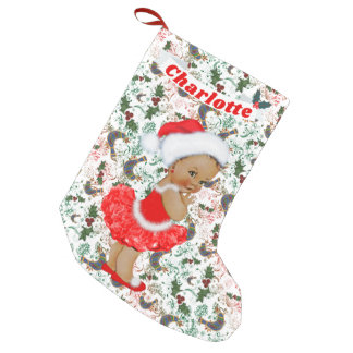 Cute Santa Baby Girl Ethnic Name Red Green Holly Small Christmas Stocking