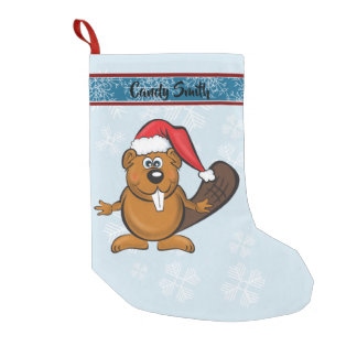 Cute santa beaver stocking