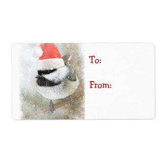 Cute Santa Chickadee Gift Tag Shipping Label