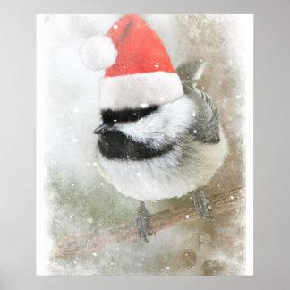 Cute Santa Chickadee Poster