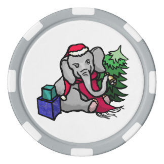 Cute Santa Christmas Cartoon Elephant with Bell Poker Chips