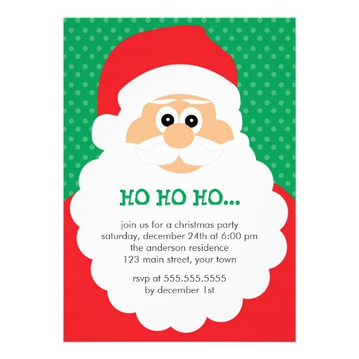 Cute Santa Christmas Party 5x7 Paper Invitation Card | Zazzle