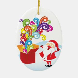 Cute Santa Claus And Gift Box Christmas ornament