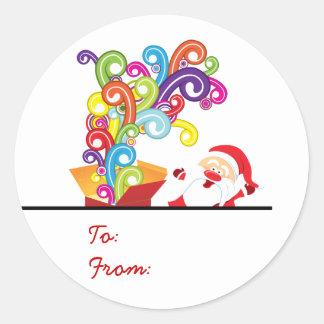 Cute Santa Claus And Gift Box Christmas Sticker
