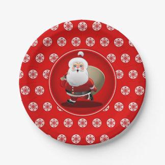 Cute Santa Claus Cartoon Paper Plate
