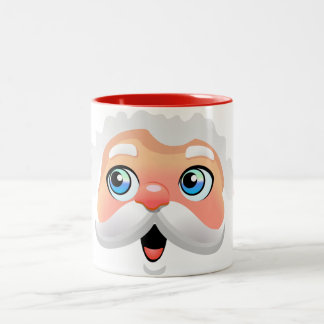 Cute Santa Claus Cartoon Two-Tone Coffee Mug