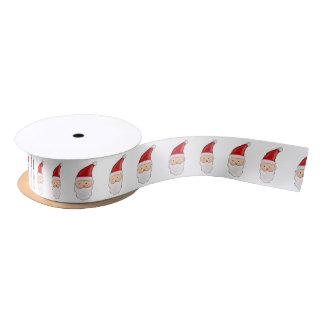 Cute Santa Claus Christmas Holiday Pattern Satin Ribbon