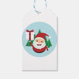 Cute Santa Claus Gift Circle Gift Tags