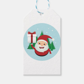 Cute Santa Claus Gift Circle Pack Of Gift Tags