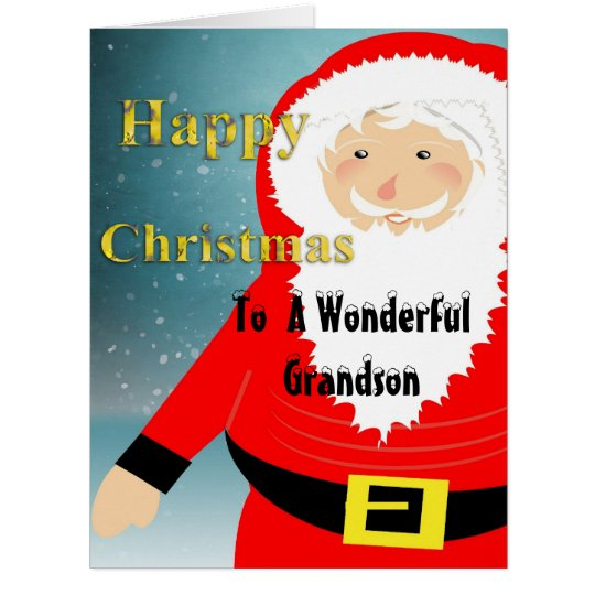 Cute Santa Claus Happy Christmas Grandson Cards