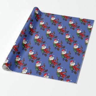 Cute Santa Claus Hiking Christmas Cartoon Wrapping Paper