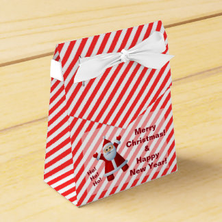 Cute Santa Claus Ho Ho Ho Merry Christmas Stripes Favor Box
