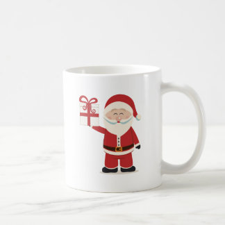 Cute Santa Claus Holding Christmas Present Coffee Mug