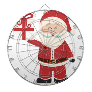 Cute Santa Claus Holding Christmas Present Dartboard