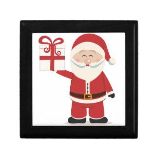 Cute Santa Claus Holding Christmas Present Jewelry Box