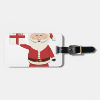 Cute Santa Claus Holding Christmas Present Luggage Tag
