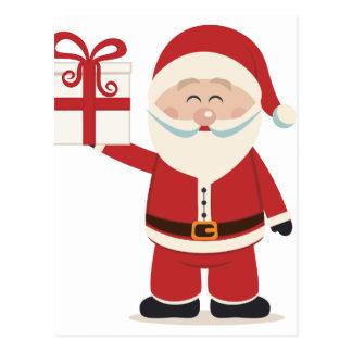 Cute Santa Claus Holding Christmas Present Postcard