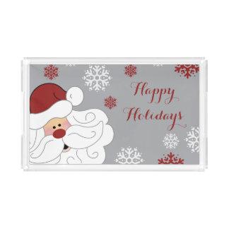 Cute Santa Claus Holiday Acrylic Serving Tray