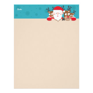 Cute Santa Claus peeking with reindeers Christmas Custom Letterhead