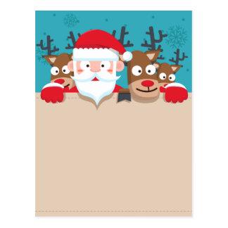 Cute Santa Claus peeking with reindeers Christmas Postcard