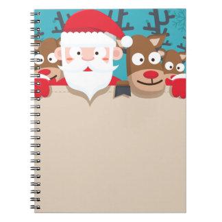 Cute Santa Claus peeking with reindeers Christmas Spiral Notebook
