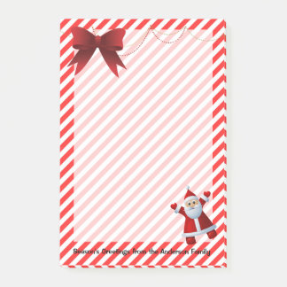 Cute Santa Claus Red Bow Merry Christmas Stripes Post-it Notes
