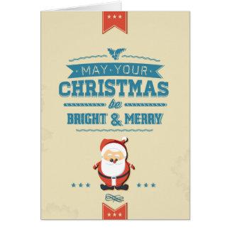 Cute Santa Claus Ribbon Blue Typographic Card