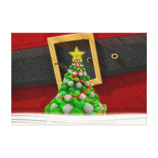 Cute Santa Claus Suit and Christmas Tree Canvas Print