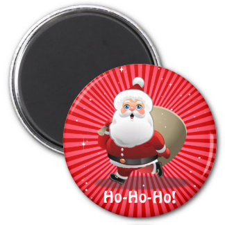 Cute Santa Claus With A Sack Full Of Presents 2 Inch Round Magnet