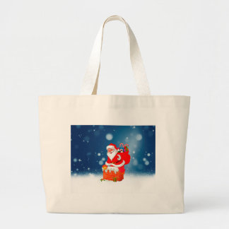 Cute Santa Claus with Gift Bag Christmas Snow Star