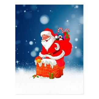 Cute Santa Claus with Gift Bag Christmas Snow Star Postcard