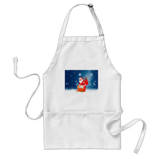 Cute Santa Claus with Gift Bag Christmas Snow Star Standard Apron